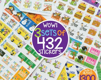 """1296 (3 sets) Mini Planner Stickers for any planner or calendar. Great for Busy Moms  Size 3/4"""" x 3/4"""". [3 pks of 432 stickers] [Item #2001]"""