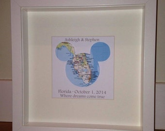 Framed Mickey Mouse map | wedding engagement and anniversary gifts | personalised gift