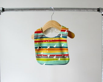 Baby/Toddler Bib, Organic Colorful Serengeti Bird Flight Cotton with Organic Bamboo Terry