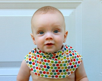 Baby Drool Bib, Organic Dottie Cotton with Organic Bamboo Terry