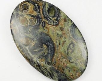 Green Kambara Jasper Pendant Bead - 55x35x7mm