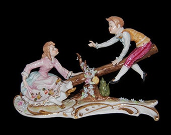 Vintage Dresden Boy and Girl on Seesaw