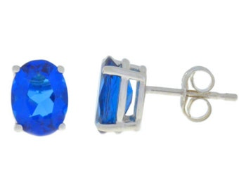 14Kt White Gold Blue Sapphire Oval Stud Earrings