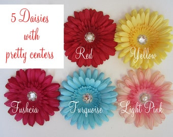 FIVE - 4 inch Daisy Flower Heads - SET OF 5 - ready to attach to headbands or clips