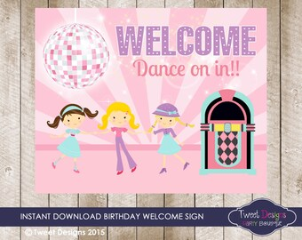 DISCO BIRTHDAY SIGN - Disco Party Welcome Banner, Disco Wall Art, Disco Party Decoration, Disco Party Welcome Sign, Disco Sign, Disco Party