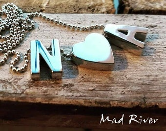 Initial Charm Necklace with Heart
