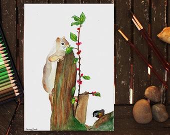 Greedy Squirrel, Original Watercolor, Squirrel Painting, Watercolor Squirrel, Squirrel Illustration, Wildlife Painting, Animal, Nature