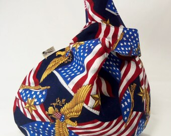 American Patriot Japanese Knot Wristlet Project Bag
