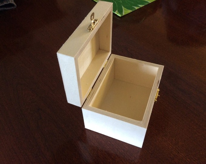 Unfinished Wood Box with hinges and front latch