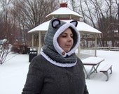 Wolf Hooded Cowl - Hooded Cowl - Hat Scarf, Cowl -Wolf Hat- Child Wolf Hooded Cowl - Adult Wolf Hooded Cowl - Animal Hat-Crochet Hat
