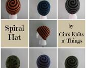 Mens Hats -Beanie- Ladies Hats -Spiral Beanie - Spiral Hat - Child Hat - Boy's Hat- Girls Hat - Winter Hat - Crochet Hat