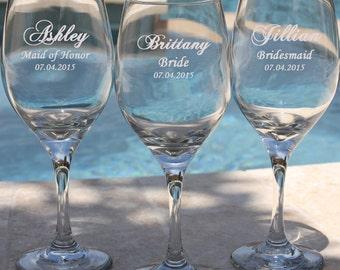 14 Personalized Wine Glasses, Bridesmaid Wine Glasses, Gift for Bridesmaids, Etched Wine Glasses, Custom Wine Glasses, Wedding Wine Glasses