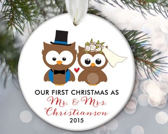 Our First Christmas as Mr & Mrs Owl Personalized Christmas Ornament Bridal Shower Gift Bride and Groom Owl Christmas Ornament OR482