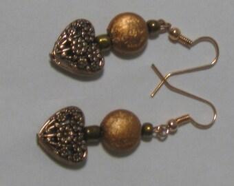 Lace Copper Heart Earrings