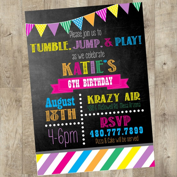 Jump Party Invitation Chalk Board Invite By TheNauticalHouse