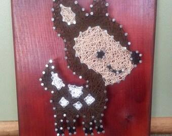 """9x12"""" Baby Deer String Art on Cherry Wood Plaque"""