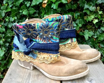 Gypsy Cowgirl boho bootcovers, boot wraps, boot bling, bootcuffs - Blue jeans - African jewelry-Bohemian jewelry-Statement jewels