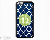 SALE - iPhone 6 Plus Case, iPhone 6 Case, iPhone 5s Case, iPhone 5c Case, Navy Trellis and Lime Green, Monogram Gift (467)