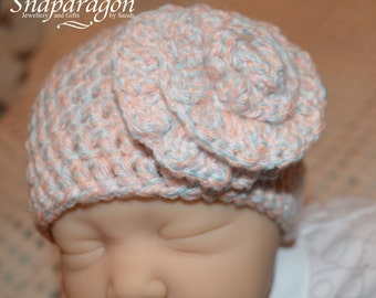 Newborn baby crochet hat, multi, pale pink and grey with large flower
