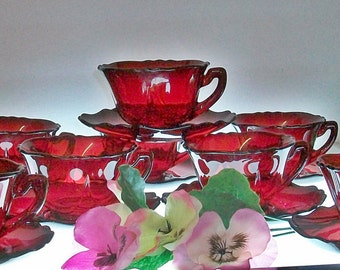 Set Of 8 Cambridge Carmen / Ruby Red Cups And Saucers