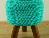 Turquoise stool, light petrol footstool with hand crocheted cover, round side table, hocker, Ottoman NEW Handmade 15 % Discount