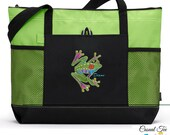 Personalized Tote Bag Caribbean Tree Frog, Boating, Beach, Nautical, Cruise, Zippered, Mesh Pockets, Embroidered Tote, Gift for Her