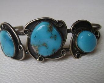 vivid blue turquoise bracelet, sterling