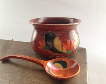 Vintage Swedish handmade wood jar spoon set Painted wooden bowl Scandinavian vintage folk art