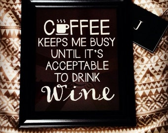 Coffee to Wine Personalized Office Wall Poster - Framed Coffee to Wine Wall Art
