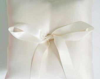 "Wedding Ring Pillow. White or Ivory Brushed Satin Ring Pillow. 5""x5"" Ring Bearer's Pillow. Traditional Ring Pillow. Ring Cushion."