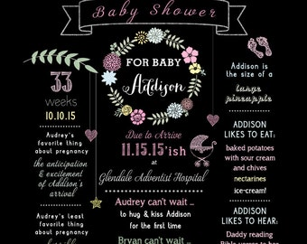 Customizable 20x30 Baby Shower Chalkboard or Blackboard Welcome Board/Sign/Poster