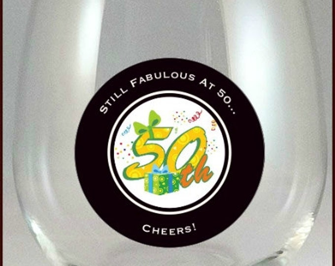 50th Birthday Party Glass Decals - 10 Pack, Glass Not included