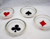 VINTAGE Card Suit GLASS COASTERS //// In Box