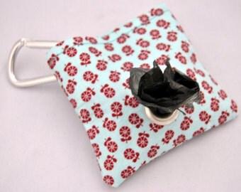 Burgundy Floral Poop  Bag Pouch