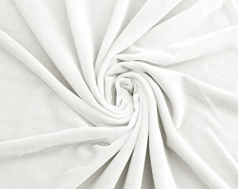 Off White Stretch Velvet Fabric by the yard or wholesale  - 1 Yard Style 1001