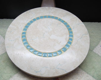 SALE! was 12.00 Vintage 1960's Mid Cent Mod Turquoise and White Formica and Mosaic Tile Round, Trivet, 416T