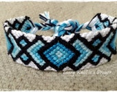 Friendship Bracelet, Macrame, Woven Bracelet, Wristband, Knotted Bracelet  - Wide Blue Ombre Bracelet - Stocking Stuffers