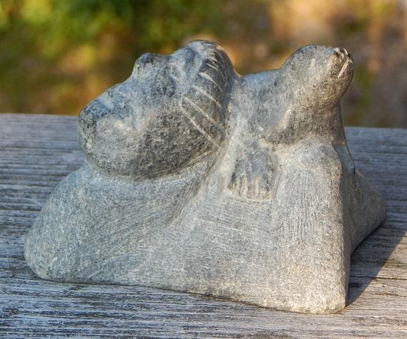 Inuit Eskimo Soapstone Carving Of Woman: Inuit Eskimo Soapstone Art Carving Of A FACE And By