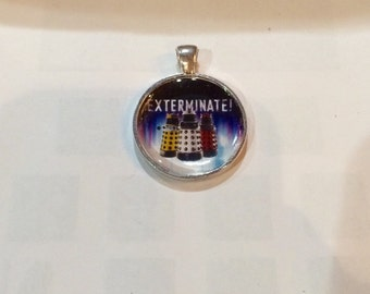 "Dalek Necklace, Doctor Who Necklace, Doctor Who Inspired Daleks ""Exterminate"" Round Silver Tone Pendant, Doctor Who Jewelry, Gift for Her"