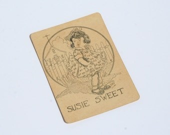 1910s Susie Sweet No Color Antique Playing Card Antique Toy Altered Art Collage Craft Supply