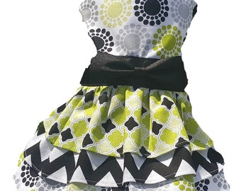 Dog Dress, Dog Clothing, Dog Wedding Dress, Pet Clothing, Dog Attire, Pet Dress - Green Triple Layer Skirt