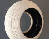 bird feeder- white porcelain with black inside