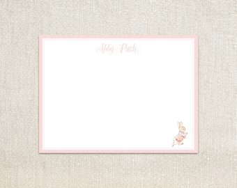 Personalized Little girls pink Beatrix Potter's peter rabbit flopsy bunny flat note cards stationery