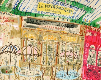PARIS RESTAURANT BISTRO, French Cafe Art, Signed Print Watercolor Painting, Cafe Drawing, Parisian Wall Art, Paris Cafe Bar, Clare Caulfield