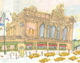Grand Central Station New York Art E42nd St City Print, NYC Watercolor Painting, Grand Central Terminal, Nyc Taxi, USA Flag, Signed Wall Art