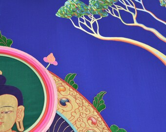 Silk appliqué Buddha by me collaborated with Artist Carrie from Tasmania painted Australian  native,