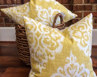 "Yellow, White Ikat Damask Designer Pillow Cover- Accent Pillow- Throw Pillow- Holds 22"" Insert"