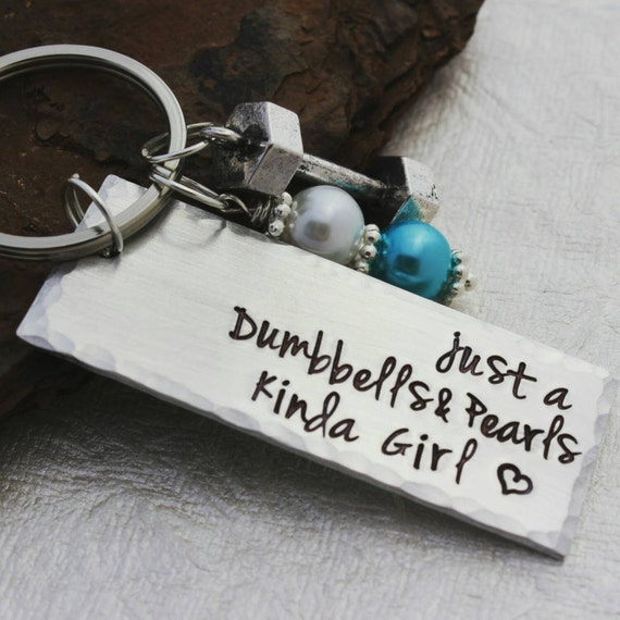 Just A Dumbells And Pearls Kinda Girl Keychain