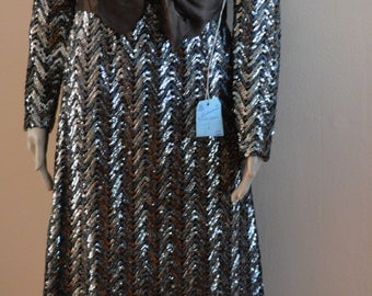 Vintage 50s 60s chic fitted Cocktail Wiggle Sequin Mohair dress new with tag wedding