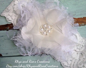 Vintage Ivory/White Lace Fabric Flower, Girls Headband, Bridal Hair Flower, Baby's Headband, Shabby Chic Lace Flower Hair Bow
